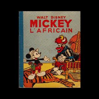 Couverture de l'album français Mickey n°18 intitulé <i>Mickey l'Africain</i>, illustrant l'histoire.