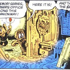 Le personnage d'un tableau, furieux d'être recouvert de boue.