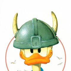 Donald en costume viking tel qu'il apparaît dans l'histoire, dessiné par <a href=