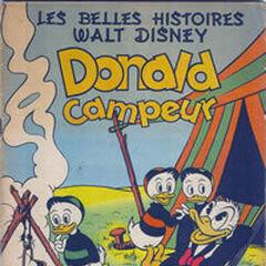 Couverture des <i>Belles Histoires Walt Disney</i> n°34 illustrant l'histoire sous son premier titre français, <i>Donald campeur</i>.