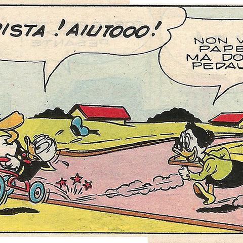 Tante Myrtille, courant après Donald.