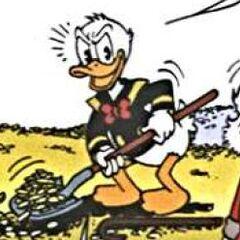 Donald prenant une pelleté de pièces.
