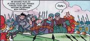Picsou et son armée encerclant Gertrude les Black Phantom