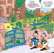 Picsou et Donald devant la maison de Gloria Canasson