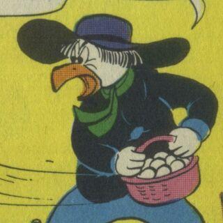 Première apparition du personnage sous l'apparence d'un poulet, dessiné par <a href=