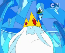 Ice King, not wearing a tunic, and looking for Finn and Neptr