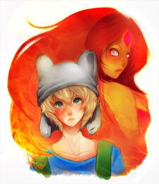 1 adventure time finn flame princess and bubblegum by diddntjs25-d4pp1hmo