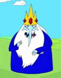 Ice King wearing his tunic and looking giddy