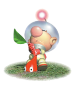 Olimar pulling out a Red Pikmin sprout