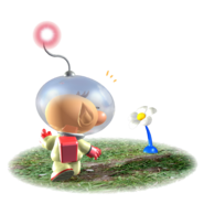 Olimar and buried Pikmin