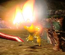 P3 Screenshot brennendes Pikmin