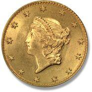 1849 Аверс золотого доллара I типа