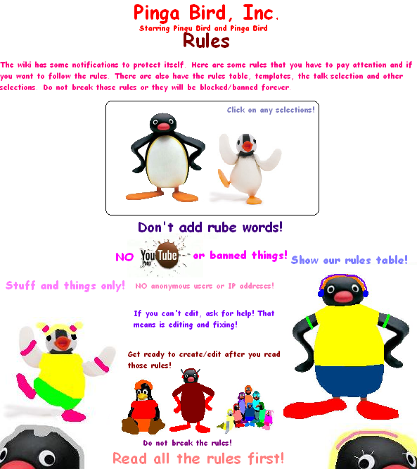 Pinga Bird, Inc. Rules Poster