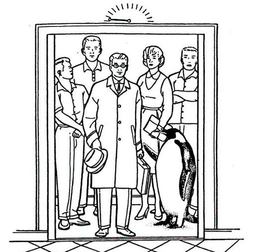 Pingüino en ascensor peq