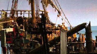 Javier Bardem as Captain Salazar on-board ghost ship The Silent Mary