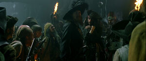 Pirates, captain Barbossa and Jack Sparrow in the cave
