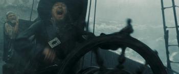 Barbossa at the wheel