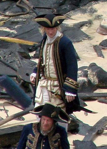 File:Damian O'Hare as Gillette Geoffrey Rush as Hector Barbossa On Set On Stranger Tides.jpg