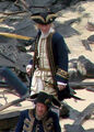 Damian O'Hare as Gillette Geoffrey Rush as Hector Barbossa On Set On Stranger Tides.jpg