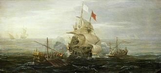 640px-French ship under atack by barbary pirates