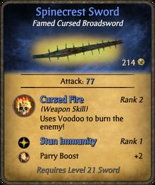 Spinecrest sword card
