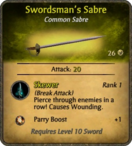 Swordsman's Sabre Card