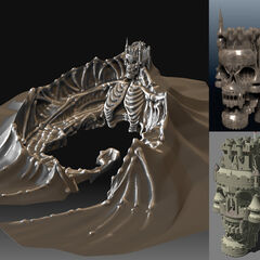 Physical sculpture of the island which was used for development reference. It also accentuates skeleton bones across the entire island, giving the tropical area a more eerie look.