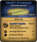 Admiral's Broadsword Card