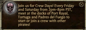 Crew days message window