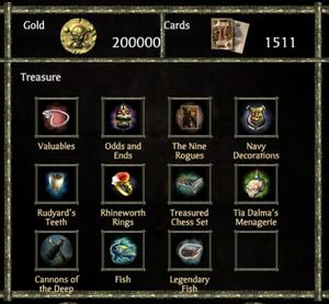 Treasure menu