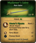 Musketeer's Sabre Card