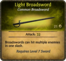 Light Broadsword Card