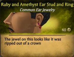 Ruby amethyst ear stud and ring