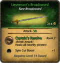 Lieutenant's Broadsword Card