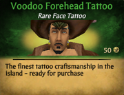 Voodoo forehead tattoo