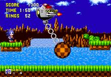 Игровой кадр из Sonic the Hedgehog, изображающий сцену боя между ежом Соником и доктором Роботником