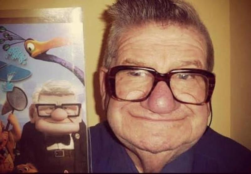 image - old man from pixar animated movie up real life cartoon