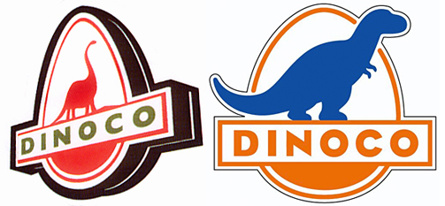 dinoco is an oil companygas station that has been seen in the toy story and cars franchises in toy story the logo is an apatosaurus