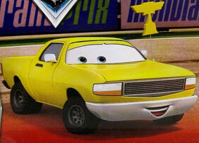 A yellow pick-up truck - Piston Cup fan