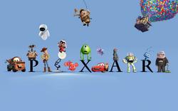 Logo de Pixar con sus personajes