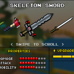 The Skeleton Sword, which was the original base version of the current Fire Demon. It was replaced by the current Fire Demon. It had a short wooden handle, with a black crossguard. The cross guard had a red-eyed black skull. Above that was a long, jagged, black blade.