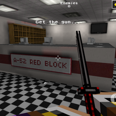 The Red Block reception desk.