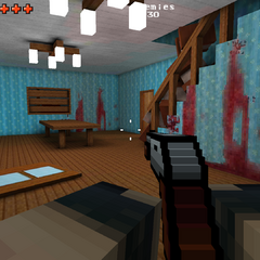 An older version of the kitchen, note the bloodstains.