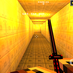 The first part of the yellow hallway.