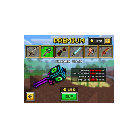 The original Wizard Wand, which was the downgrade of the current Wizard Wand. It was removed in the 8.0.0 update, making both the current Wizard Wand and the Dark Mage Wand individual weapons. The shaft was purple, with a purple cross guard. Each side possess a green eye.