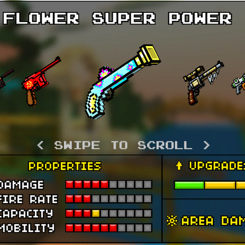 The Flower Super Power, which was the upgrade of the Flower Power. It was a light blue weapon with pink and yellow flowers painted on it.