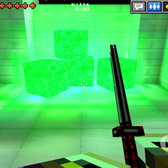 A pile of the cubes of green ore.