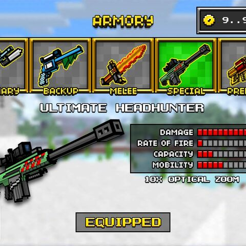 The Ultimate Headhunter, which was the downgrade of the Elephant Hunter. It was removed in the 8.3.0 update, making both the Brutal Headhunter and the Elephant Hunter individual weapons. It had a few red stripes on the side of the gun features a paler base color.