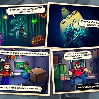Second panel of the comic after the end of the level.