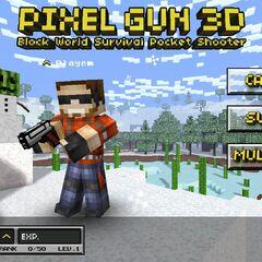 The Pixel Gun wielded in the old main menu.